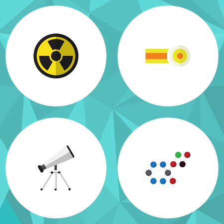 Flat icon Science set of molecule, scope, chemical and other objects. Illustration