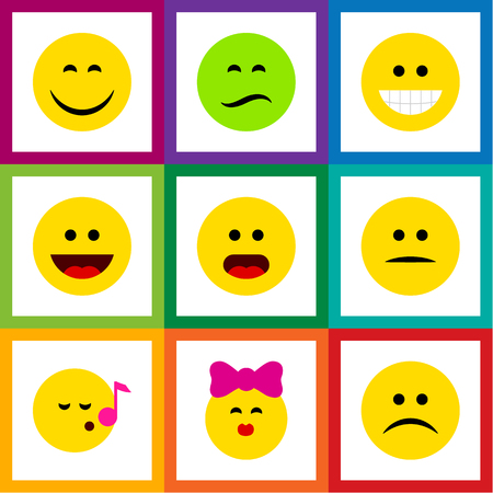 Flat icon expression set of laugh, smile, wonder and other objects.
