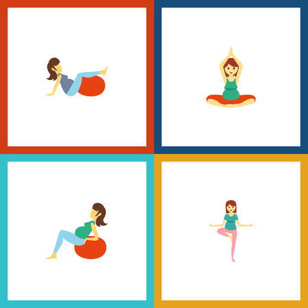 Flat icon pregnancy set of lady, pose, yoga and objects.