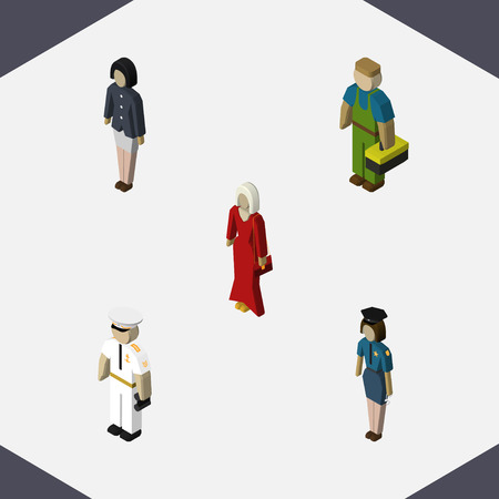 Isometric people set of plumber, female, girl and other objects.