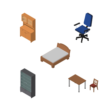 Isometric furniture set of cupboard, sideboard, chair and other objects.