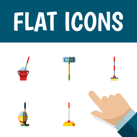 Flat icon broomstick set of sweep, besom, bucket and other objects.