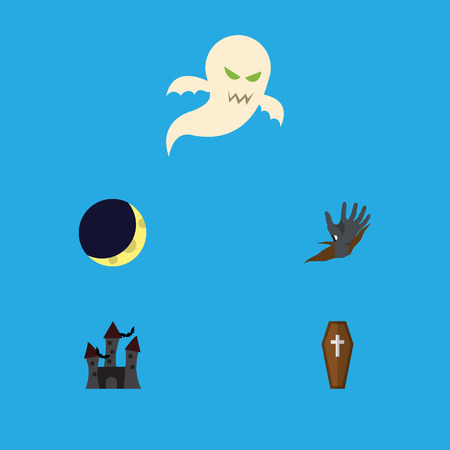 Flat Icon Halloween Set Of Crescent, Fortress, Ghost And Other Vector Objects