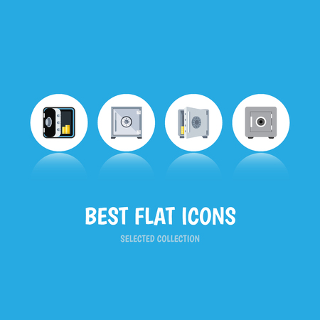 Flat Icon Strongbox Set Of Locked, Strongbox, Banking And Other Vector Objects Illustration