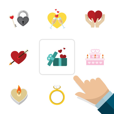 Flat Icon Love Set Of Heart, Key, Gift And Other Vector Objects