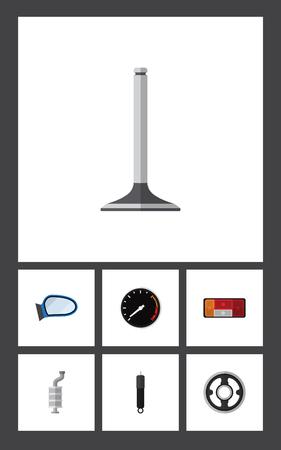 Platte pictogram Component Set koplamp, riem, auto-onderdeel en andere vectorobjecten