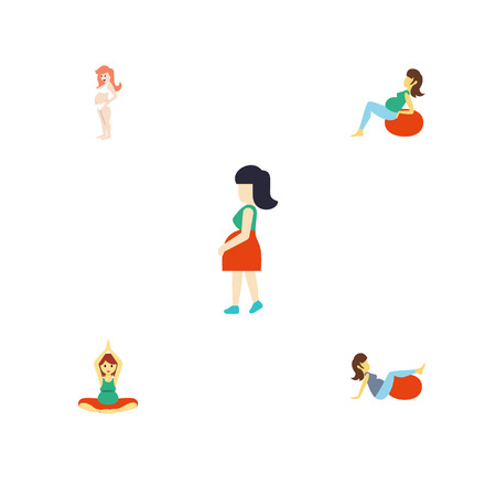 Flat Icon Pregnant Set Of Pregnancy, Mother, Lady And Other Vector Objects