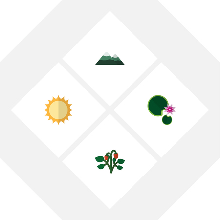 high: Flat Icon Nature Set Of Solar, Berry, Peak And Other Vector Objects Illustration