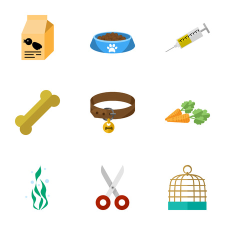 Flat Icon Animal Set Of Root Vegetable, Bird Prison, Seaweed And Other Vector Objects