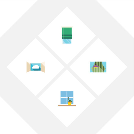 Flat Icon Glass Set Of Curtain, Flowerpot, Balcony And Other Vector Objects Ilustrace