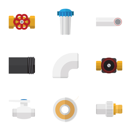 Flat Icon Industry Set Of Tube, Plastic, Roll And Other Vector Objects Illustration