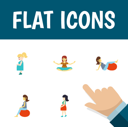 Flat icon pregnant set of mother, meditation, fitness and other objects. Ilustração