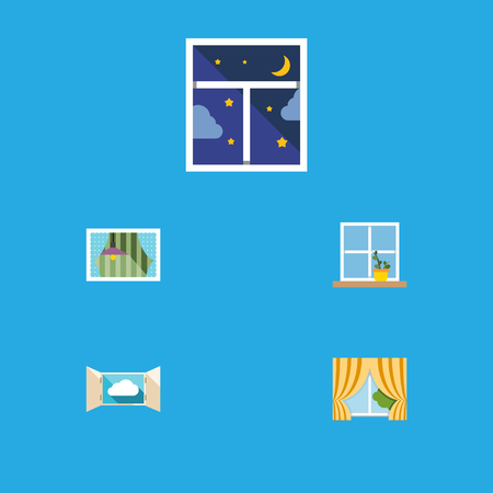 Flat icon window set of glass frame, cloud, curtain and other objects. Ilustrace