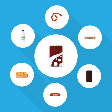 Flat Icon Meal Set Of Fizzy Drink, Kielbasa, Bottle And Other Vector Objects