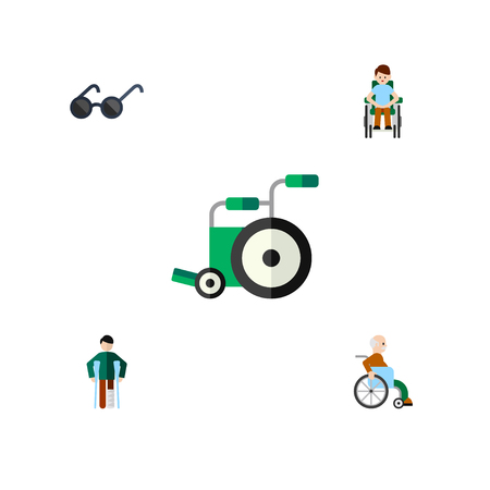 Flat Icon Handicapped Set Of Spectacles, Disabled Person, Equipment And Other Vector Objects Illustration