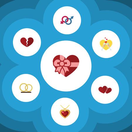 Icône plate amour ensemble de divorce, symbole de la sexualité, célébration et autres objets vectoriels