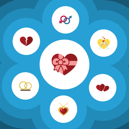 Flat Icon Amour Set Of Divorce, Sexuality Symbol, Celebration And Other Vector Objects