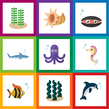 Flat Icon Nature Set Of Playful Fish, Seashell, Shark And Other Vector Objects