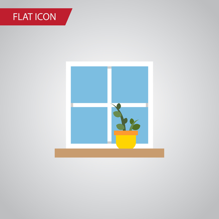 Flowerpot Vector Element Can Be Used For Window, Flower, Pot Design Concept.  Isolated Window Flat Icon.
