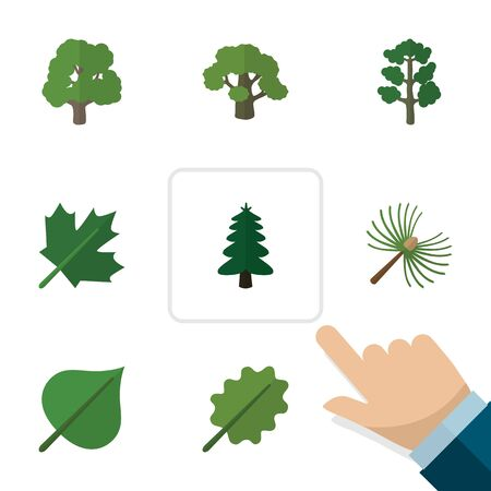 alder: Flat Icon Ecology Set Of Rosemary, Forest, Oaken And Other Vector Objects