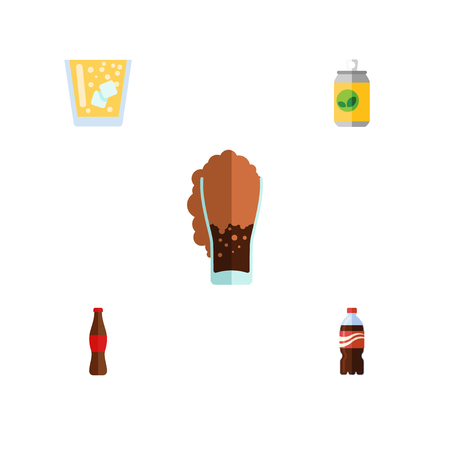 Flat Icon Soda Set Of Lemonade, Bottle, Beverage And Other Vector Objects