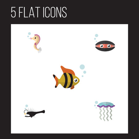 Flat Icon Sea Set Of Hippocampus, Seafood, Scallop And Other Vector Objects Illustration