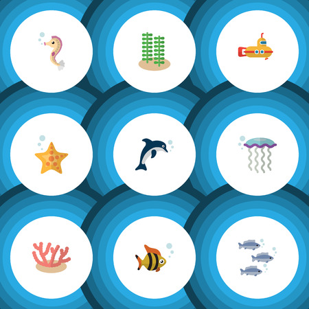 Flat Icon Nature Set Of Algae, Seafood, Seaweed And Other Vector Objects. Also Includes Dolphin, Jellyfish, Star Elements.