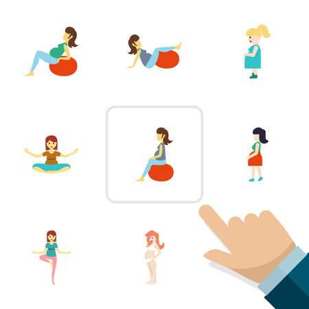 Flat Icon Pregnancy Set Of Pose, Fitness, Mother And Other Vector Objects.