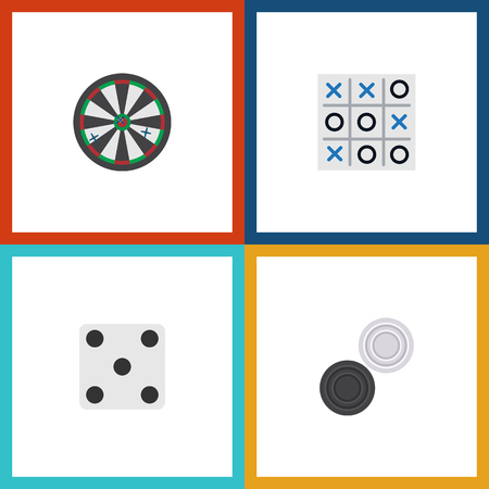 Flat Icon Games Set Of Arrow, X-O, Backgammon And Other Vector Objects. Also Includes Chequer, Game, Arrow Elements.