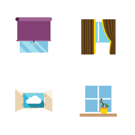Flat Icon Frame Set Of Flowerpot, Glazing, Cloud And Other Vector Objects. Also Includes Flower, Cloud, Pot Elements.