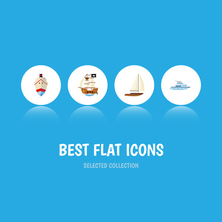 Flat Icon Vessel Set Of Yacht, Vessel, Boat And Other Vector Objects. Also Includes Boat, Pirate, Ship Elements.