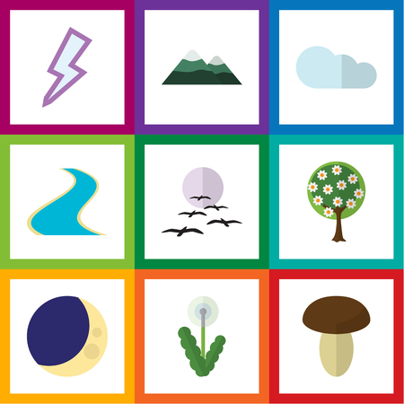 Flat Icon Ecology Set Of Peak, Gull, Floral And Other Vector Objects. Also Includes Tributary, Estuary, Storm Elements. Illustration