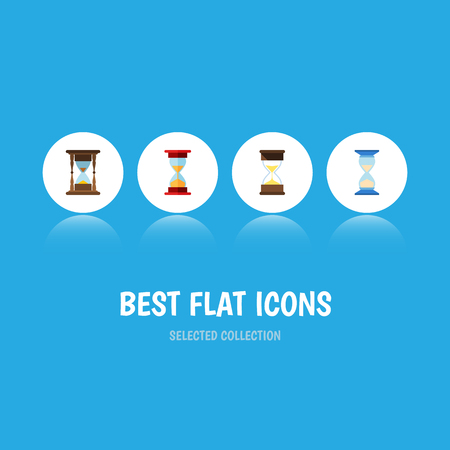 Flat Icon Timer Set Of Minute Measuring, Waiting, Loading And Other Vector Objects. Also Includes Sandglass, Instrument, Timer Elements.