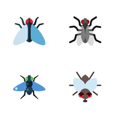 イエバエ、ブヨ、ズンと他のベクトル オブジェクトのフラット アイコン イエバエ セット。またハム、蚊、昆虫の要素が含まれています。