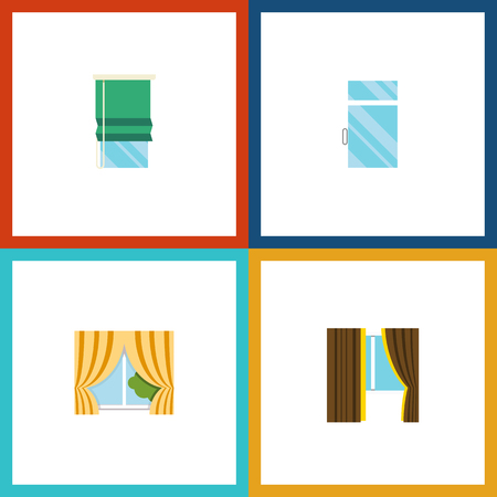 Flat Icon Window Set Of Glass Frame, Glass, Clean And Other Vector Objects. Also Includes Balcony, Glass, Frame Elements.