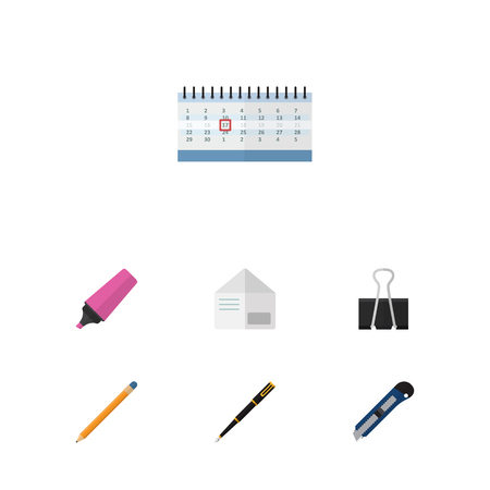 nib: Flat Icon Tool Set Of Paper Clip, Letter, Marker And Other Vector Objects. Also Includes Knife, Drawing, Calendar Elements.