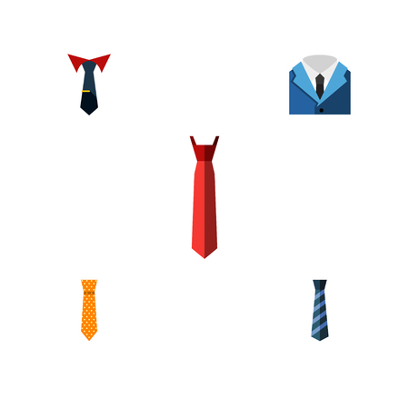 Flat Icon Tie Set Of Clothing, Cravat, Tailoring And Other Vector Objects. Also Includes Necktie, Shirt, Cravat Elements.