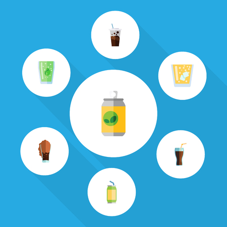 Flat Icon Drink Set Of Cup, Lemonade, Beverage And Other Vector Objects. Also Includes Carbonated, Soda, Cup Elements.