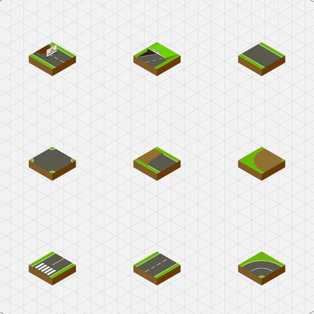 地下鉄、ストリップ、私道および他のベクトル オブジェクトなしの等尺性の方法を設定します。また交差点、ビチューメン、フッター要素が含まれ  イラスト・ベクター素材