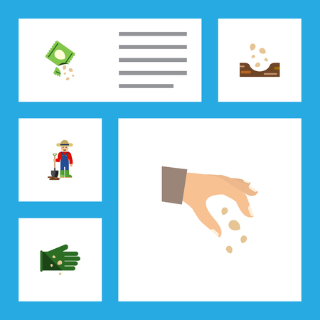 Flat Icon Seed Set Of Man, Packet, Sow And Other Vector Objects. Also Includes Sow, Farmer, Plant Elements.