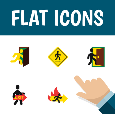 Flat Icon Exit Set Of Evacuation, Fire Exit, Open Door And Other Vector Objects. Also Includes Direction, Fire, Door Elements.