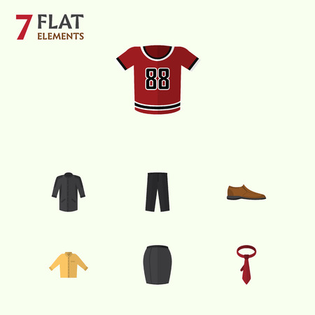 Flat Icon Dress Set Of Male Footware, Pants, Cravat And Other Vector Objects. Also Includes Skirt, Trousers, Woman Elements.