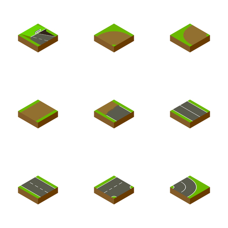 Isometric Road Set Of Single-Lane, Down, Flat And Other Vector Objects. Also Includes Sand, Subway, Incomplete Elements.
