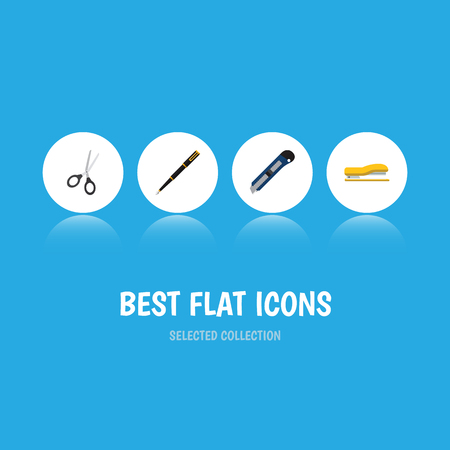 Flat Icon Stationery Set Of Nib Pen, Clippers, Supplies And Other Vector Objects. Also Includes Tool, Writing, Cutting Elements.