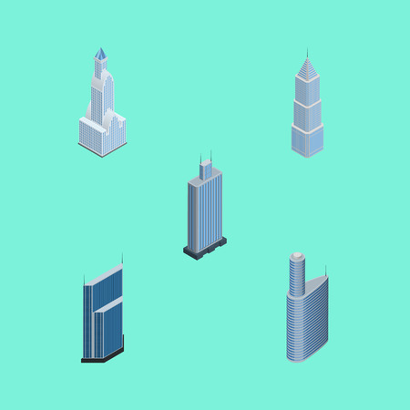 Isometric Building Set Of Residential, Building, Business Center And Other Vector Objects. Also Includes Urban, Tower, Business Elements.