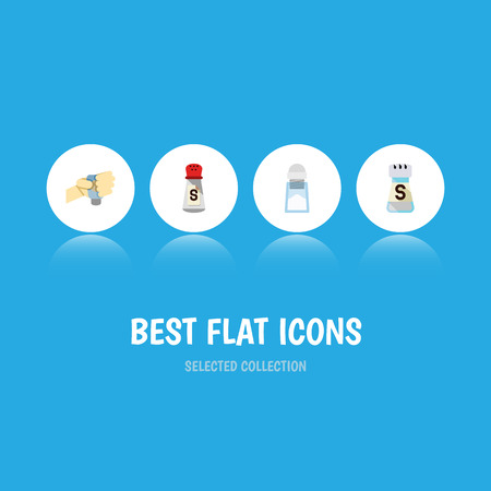 Flat Icon Salt Set Of Sodium, Flavor, Saltshaker And Other Vector Objects. Also Includes Pour, Hand, Flavor Elements.
