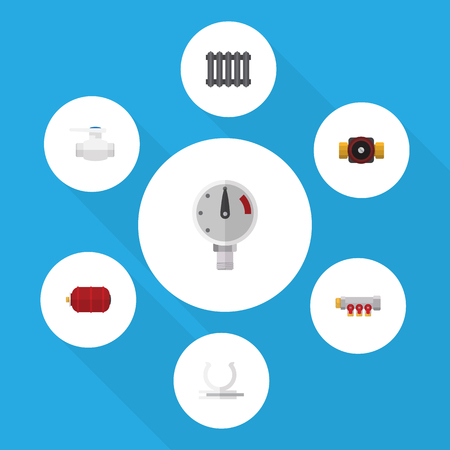 Flat Icon Plumbing Set Of Pipework, Tap, Container And Other Vector Objects Illustration