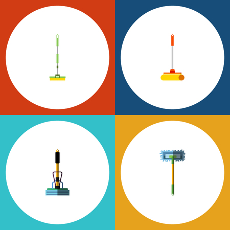 besom: Flat Icon Cleaner Set Of Cleaner, Broom, Besom And Other Vector Objects. Also Includes Cleaner, Broomstick, Besom Elements. Illustration