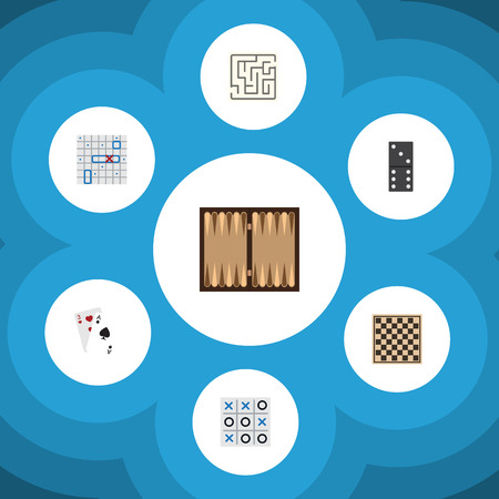 Flat Icon Play Set Of Dice, Chess Table, Sea Fight And Other Vector Objects. Also Includes Tic, Tac, Cards Elements. Illustration