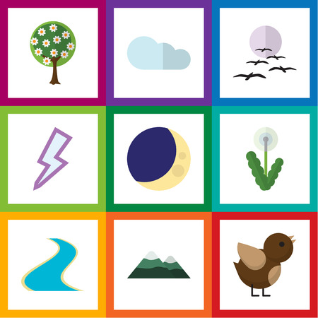 Flat Icon Bio Set Of Gull, Peak, Bird And Other Vector Objects. Also Includes Overcast, Peak, Tributary Elements.